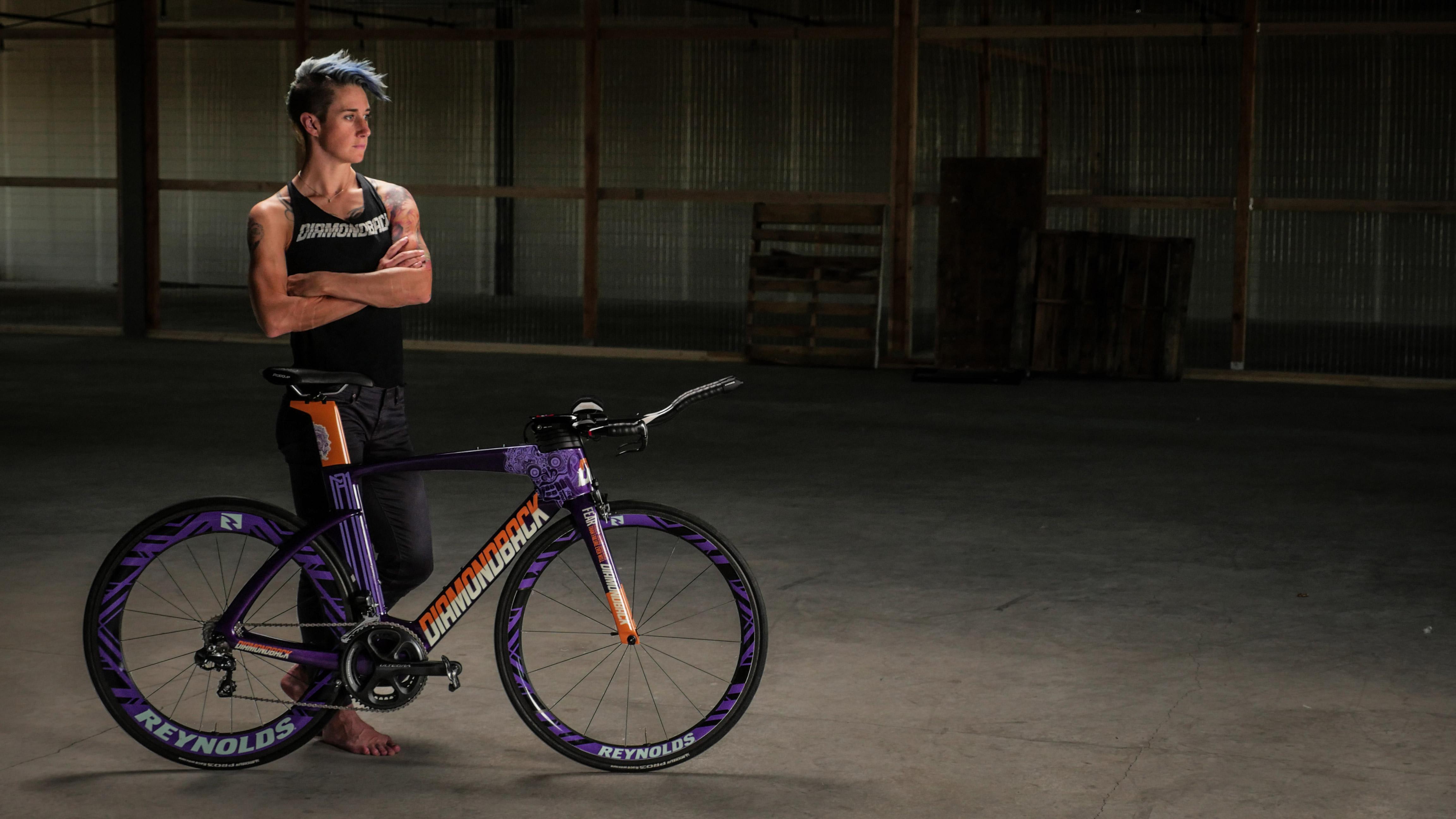 Rachel McBride and her custom Purple Demon