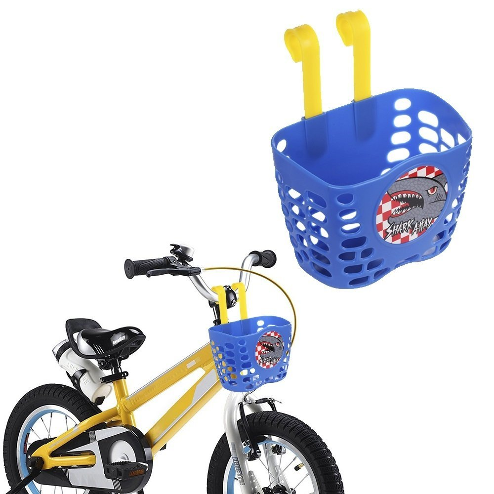 Kids plastic bike basket with shark motif