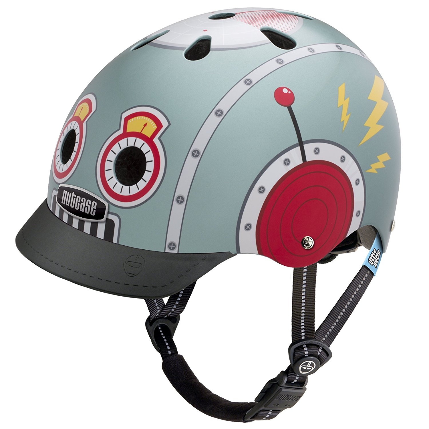 Kids bike helmet with robot graphics