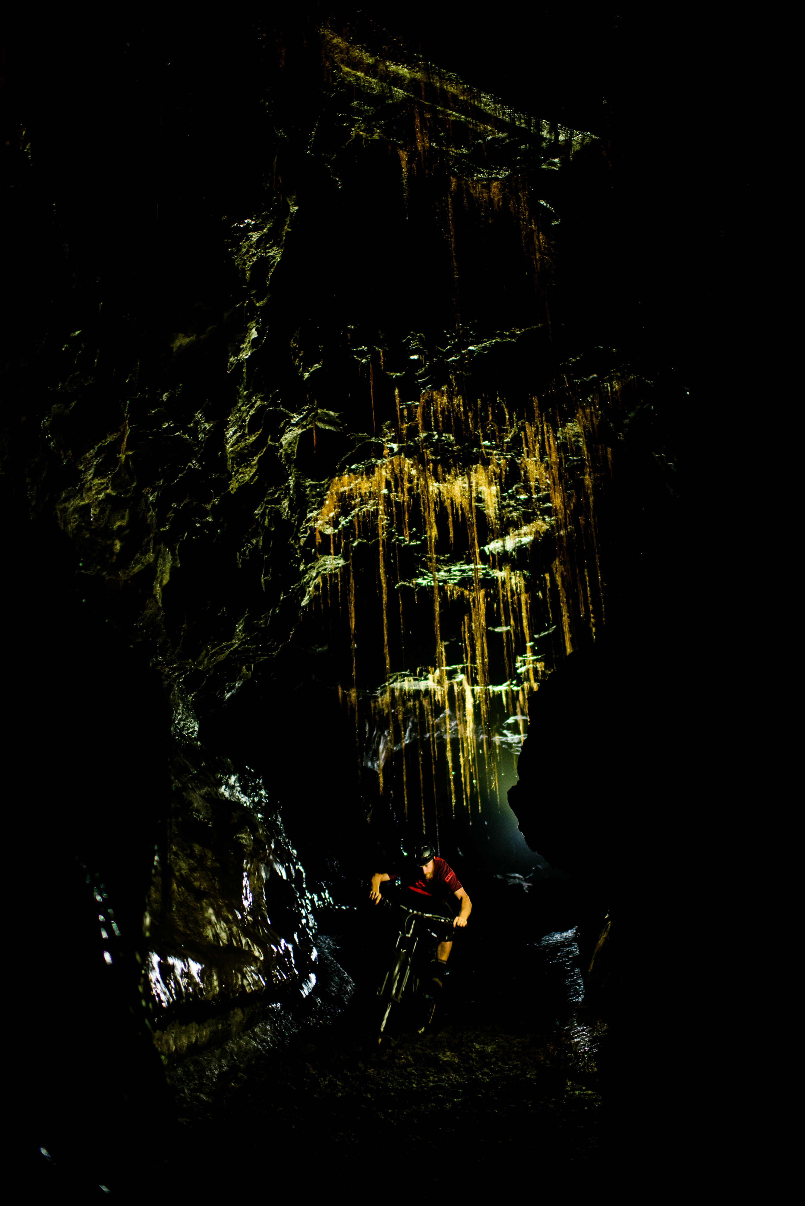 deep in a cave