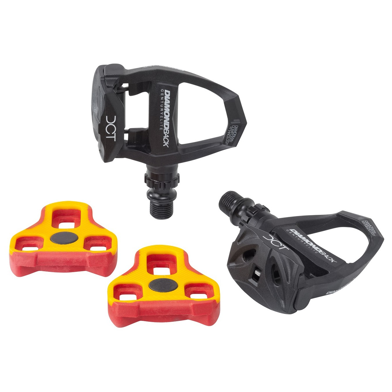 Black clipless pedals for road bike with red and yellow cleats