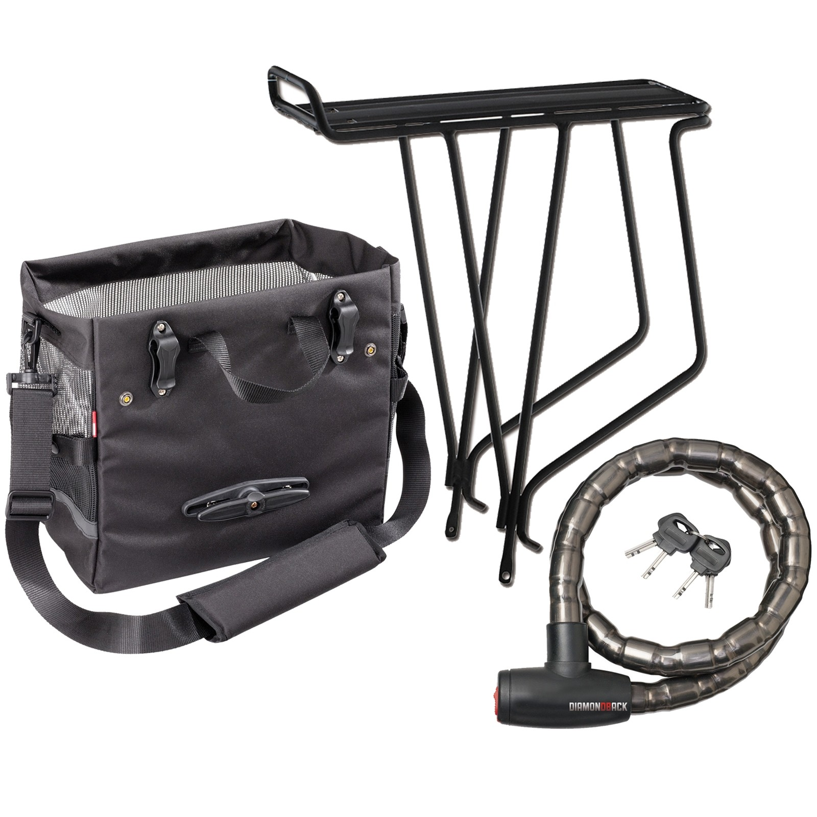 Bike rack, black pannier, and armored bike lock