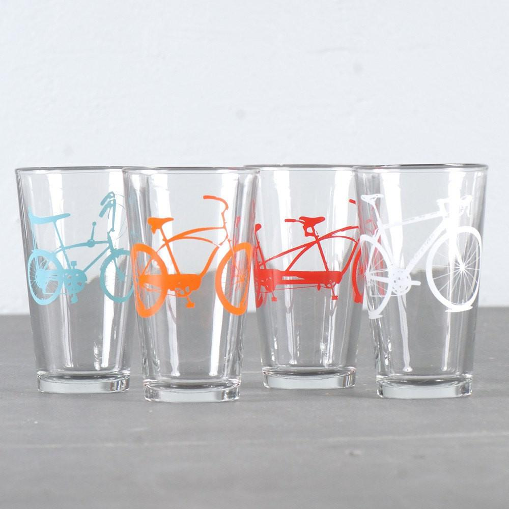 Pint glasses with screen-printed bike silhouettes