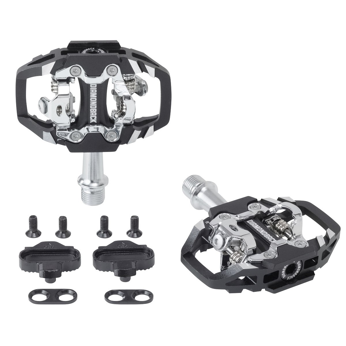 Black SPD-compatible mountain bike pedals with cleats