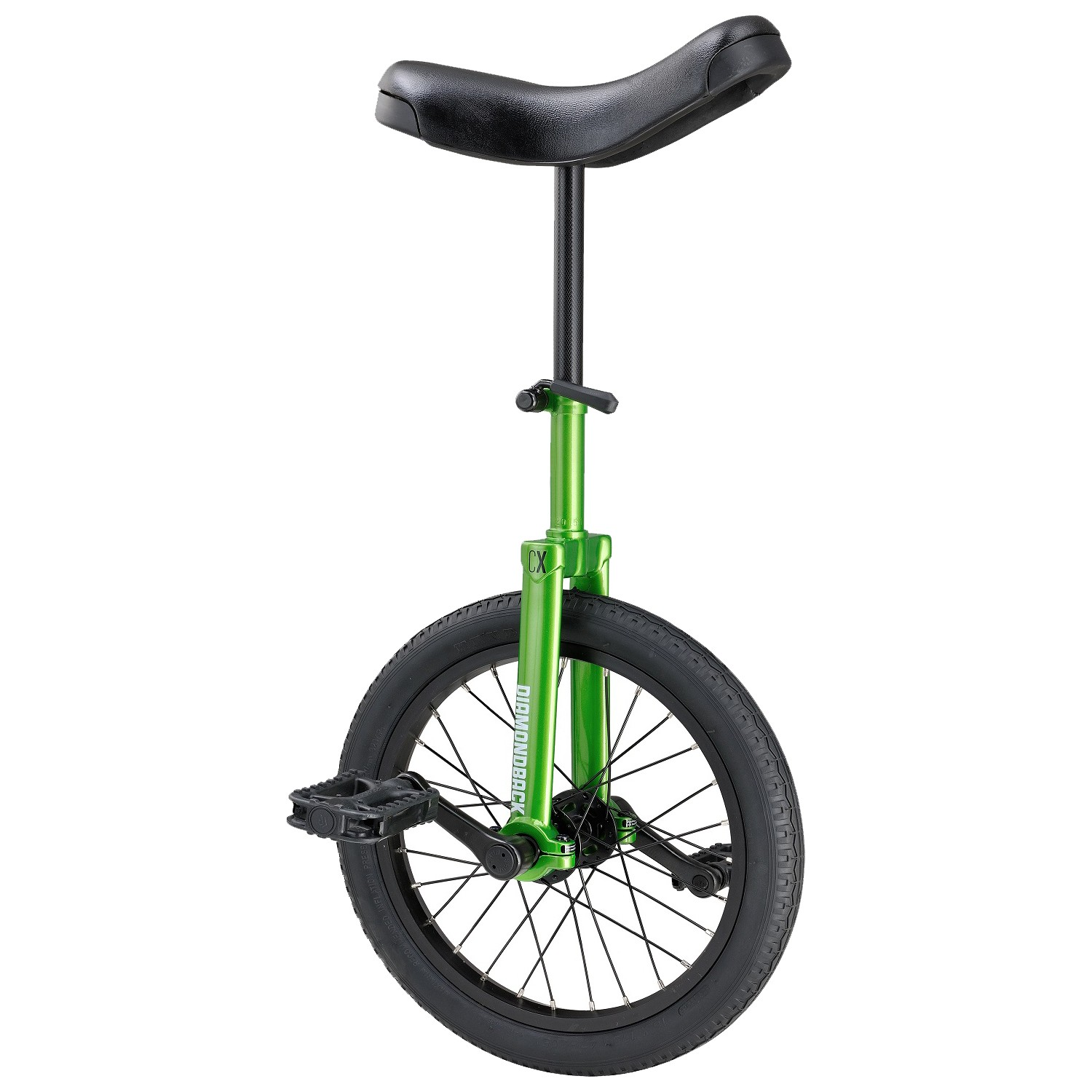 green unicycle with 16-inch wheel