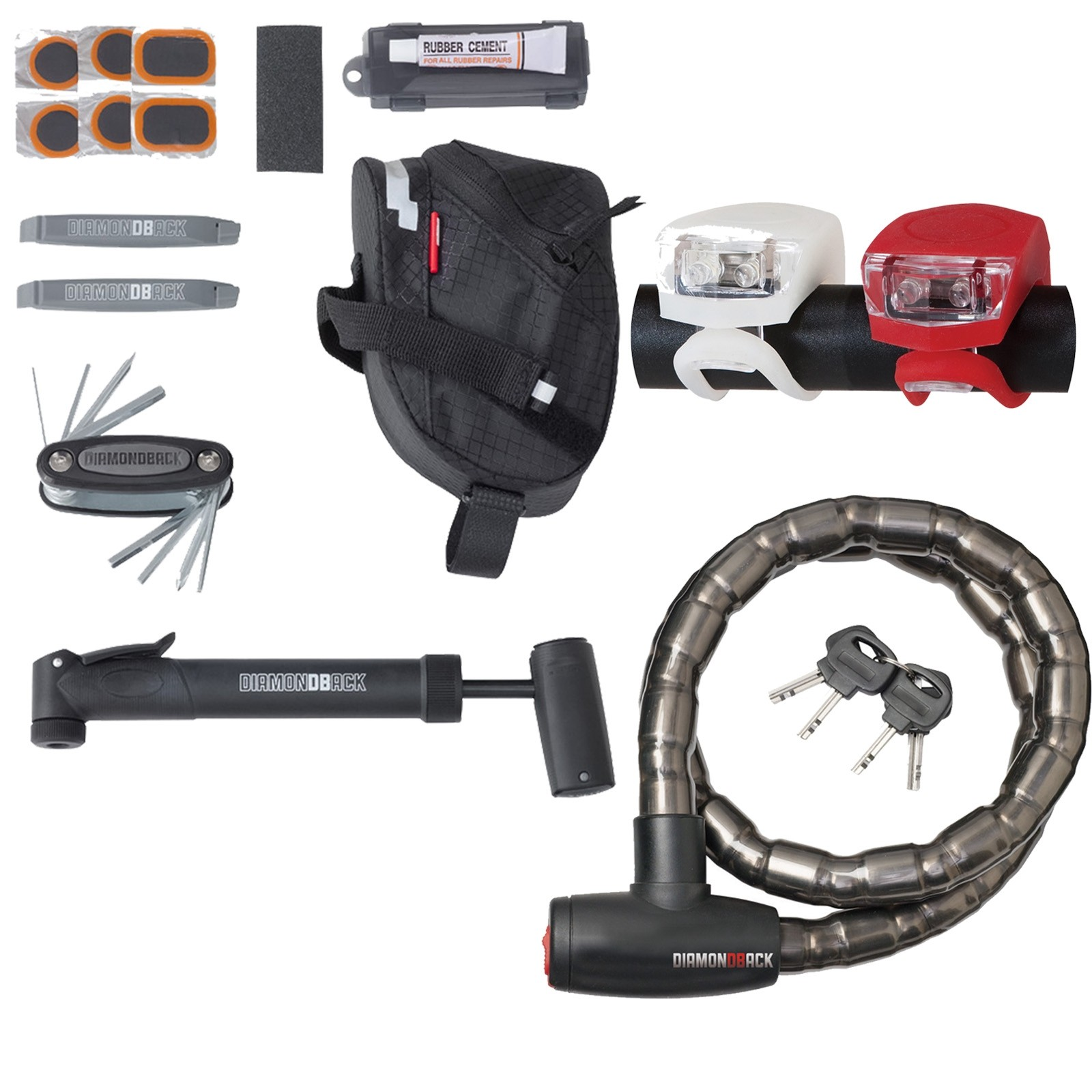 Bike tool kit with pump and lock