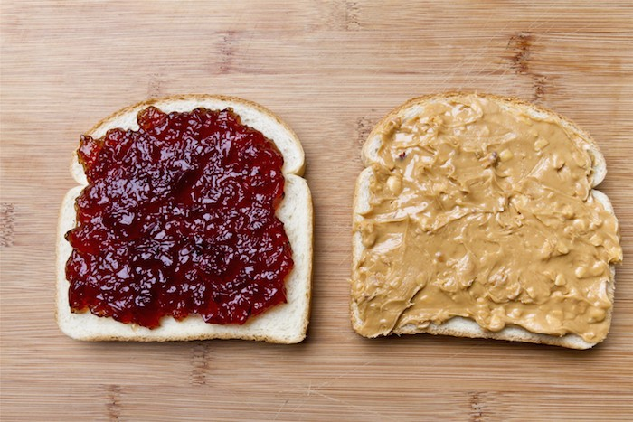 Bread with peanut butter and jelly