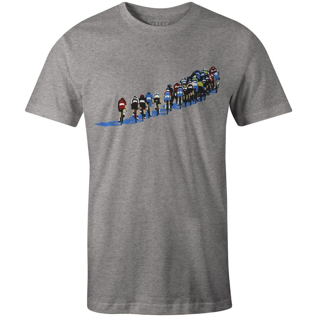 Men's T-shirt with road riders in echelon