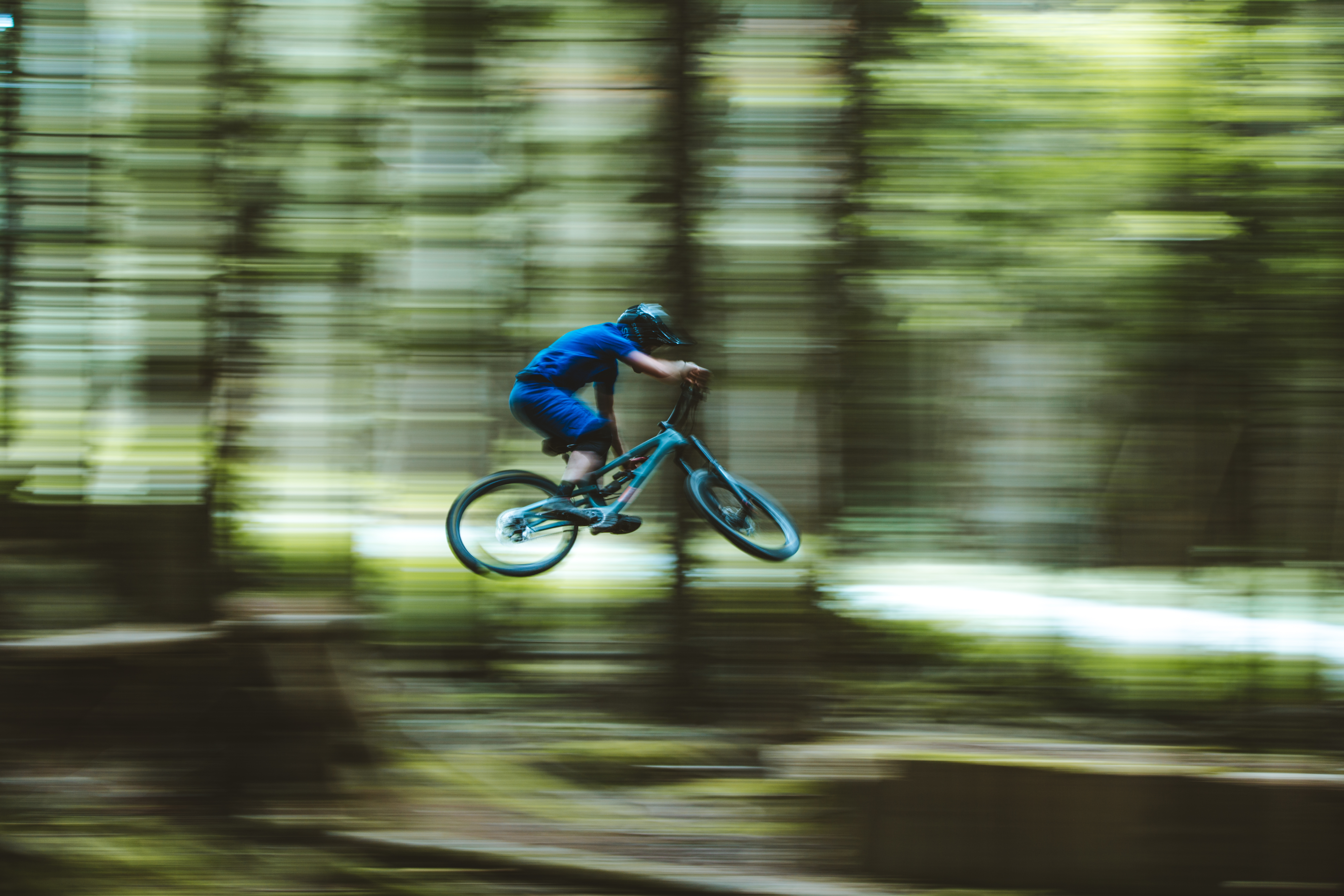 Mike Hopkins rides the Mission Carbon mountain bike.